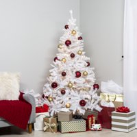 Best Choice Products 6ft Premium Hinged Artificial Christmas Pine Tree Holiday Decoration w/ 250 Warm White Lights, Solid Metal Stand, 1,000 Tips, Easy Assembly - White