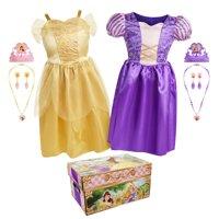 Disney Princess Belle and Rapunzel Dress Up Trunk with 11 unique pieces