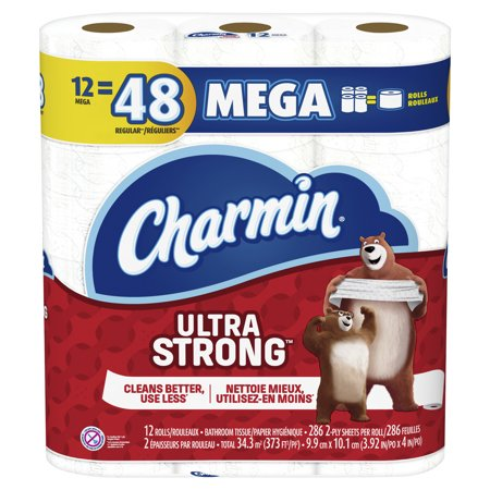 Charmin Ultra Strong Toilet Paper, 12 Mega Rolls (= 48 Regular Rolls)