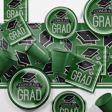 Graduation School Spirit Green Party Supplies Kit - Green Graduation