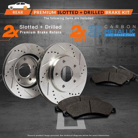 Max Brakes Rear Performance Brake Kit [ Premium Slotted Drilled Rotors + Metallic Pads ] TA168532 | Fits: 2011 11 Saab 9-5 w/12.4'' Vented Rear Rotors - image 7 de 8