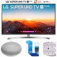"LG 49SK8000PUA 49""-Class 4K HDR Smart LED AI SUPER UHD TV w/ThinQ (2018) + Google Home Mini - Chalk + LED TV Screen Cleaner + SurgePro 6-Outlet Surge Adapter w/ Night Light"