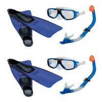 INTEX Reef Rider Adult Swimming Diving Mask, Snorkel & Fins (Set of 2) | 55957