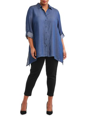 Women's Plus Sized Tencel Tunic Blouse