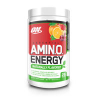 Optimum Nutrition Amino Energy Naturally Flavored Pre Workout + Essential Amino Acids, Fruit Punch, 25 Servings