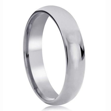 Men Women 14K White Gold Wedding Band 5mm Domed Classy Plain Comfort Fit