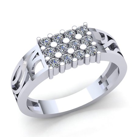 0.25carat Round Cut Diamond Mens 3 Row Engagement Anniversary Ring Solid 10K Rose, White or Yellow Gold H SI2 Diamond Three Row Ring