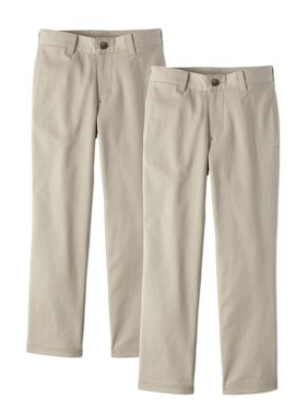 Wonder Nation Boys School Uniform Super Soft Flat Front Pants, 2-Pack Value Bundle