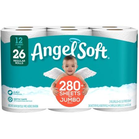- Angel Soft Toilet Paper, 12 Jumbo Rolls