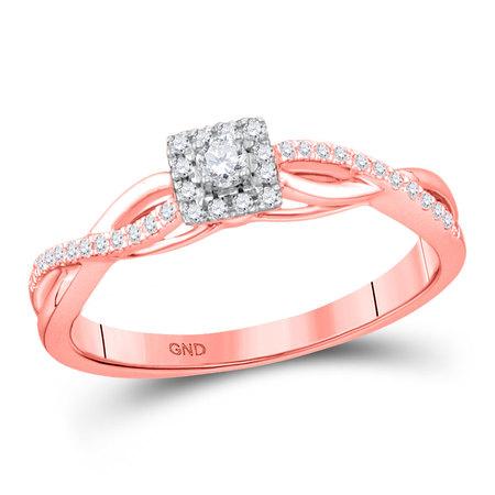 10kt Rose Gold Womens Round Diamond Solitaire Twist Bridal Wedding Engagement Ring 1/5 Cttw (Diamond Solitaire Twist Ring)