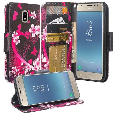 Protective Wallet Case for Samsung Galaxy J7 2018,J7v 2nd Gen,J7 Star,J7 Refine,J7 Crown Case [Wrist Strap] Cute Girls Women Glitter Leather Flip Kickstand Cover Clutch - Hot Pink Hearts