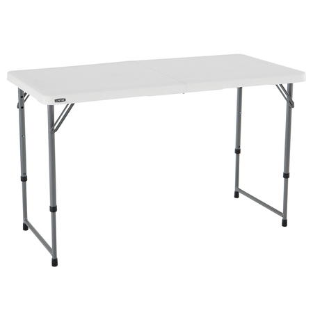 Adjustable Height Trapezoid Table (Lifetime 4' Fold-In-Half Adjustable Table, White)