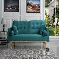 Mid-Century Modern Tufted Velvet Fabric Sofa (Light Grey)
