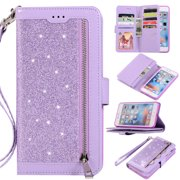 87d53e49f30 Zipper Wallet Case for iPhone 6S Plus iPhone 6 Plus 5.5-inch, Allytech  Bling Glitter Leather Case with 9 Credit Card Holder Flip Magnetic Closure  Stand ...