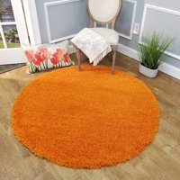Maxy Home Bella Solid Orange 5 ft. Round Shag Area Rug