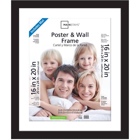 Mainstays 20x24 Matted to 16x20 Wide Gallery Poster and Picture Frame, Black - Bubble Photo Frames