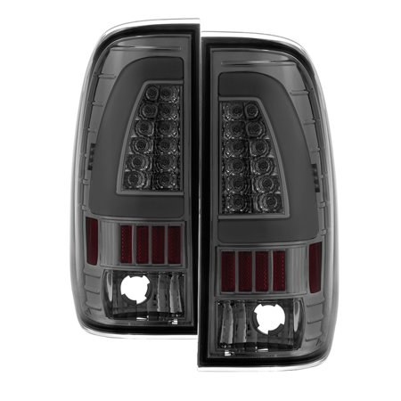1999 2000 2001 2002 2003 2004 2005 2006 2007 Ford Super Duty F250 F350 F450 LED Fiber Optic LED Bar Chrome Smoked Clear Tail Lights PAIR