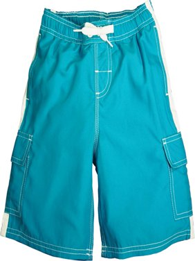 Norty Boys 4 - 20 Cargo Watershort Swim Suit Boardshort Swim Trunks - 6 Colors, 40364 Aqua / 18/20