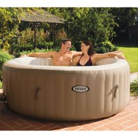 Intex 120 Bubble Jets 4-Person Round Portable Inflatable Hot Tub Spa