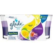 Glade 2in1 Jar Candle Air Freshener, Jubilant Rose & Lavender & Peach Blossom, 2 candles, 6.8 oz