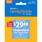 Walmart Family Mobile $29.88 Unlimited Monthly Plan (3GB at high speed, then 2G*) w Mobile Hotspot Capable (Email Delivery)