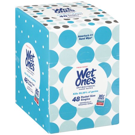 (2 pack) Wet Ones Antibacterial Hand Wipes Singles, Fresh Scent, 48 Ct Dispenser