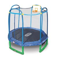 Little Tikes 10-Foot Trampoline, with Basketball Hoop, Blue/Green