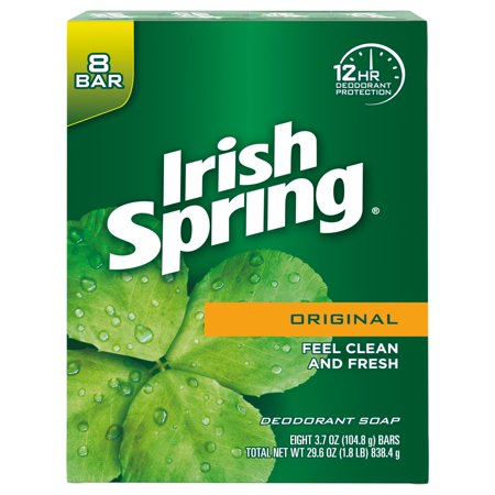 Irish Spring Original, Deodorant Bar Soap, 3.7 Ounce, 8 Bar Pack