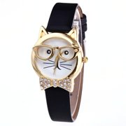 a9df37d0ebf9 Cat with Glasses And Crystal Bow Tie woman watch Quality Wrist Watch-406