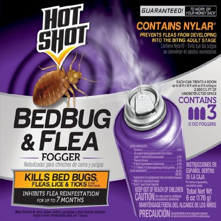 Hot Shot Bedbug & Flea Fogger, 3-2-oz (Total Release Flea Fogger)