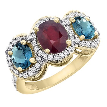 Natural Ruby Ring (14K Yellow Gold Enhanced Ruby & Natural London Blue Topaz 3-Stone Ring Oval Diamond Accent, size 6)