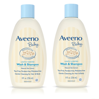 (2 Pack) Aveeno Baby Gentle Wash & Shampoo with Natural Oat Extract, 8 fl. oz