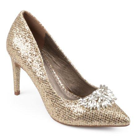 - Brinley Co. Women's Faux Leather Jewel Pointed Toe Glitter Heels