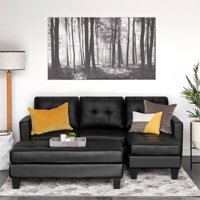 Best Choice Products 3-Seat L-Shape Tufted Faux Leather Sectional Sofa Couch Set w/ Chaise Lounge, Ottoman Coffee Table Bench - Black
