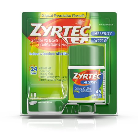 Zyrtec 24 Hour Allergy Relief Tablets with 10 mg Cetirizine HCl, 45 ct ()