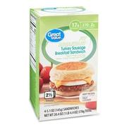 Great Value Fit Breakfast Turkey Sausage Breakfast Sandwich, 5.1 oz, 4 Count