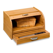 Honey Can Do Bamboo Bread Box With Roll Top Er And Cutting Board