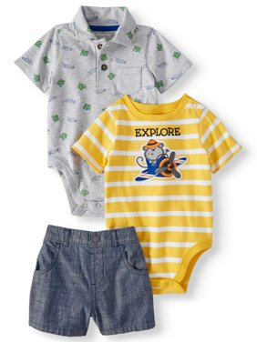 Baby Boys' Printed Polo, Graphic or Stripe Bodysuit and Canvas Shorts, 3-Piece Outfit Set