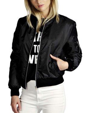 OUMY Women Stand Callar Zip Up Jacket Bomber Coat
