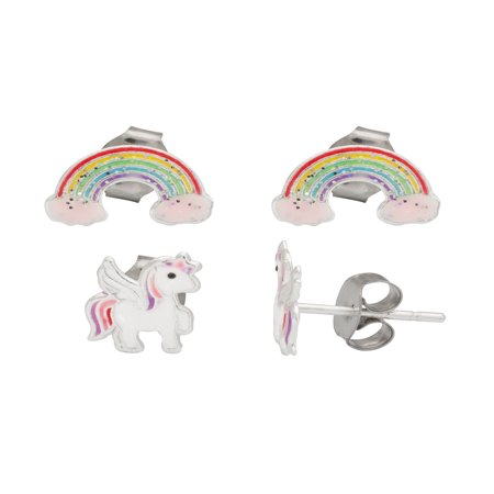 Sterling Silver Rainbow and Unicorn Stud Earrings Set, 2 pr](Rainbow Earrings)