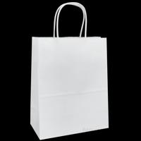"White Kraft Paper Bags, 8""x4.75""x10.25"", 100ct"