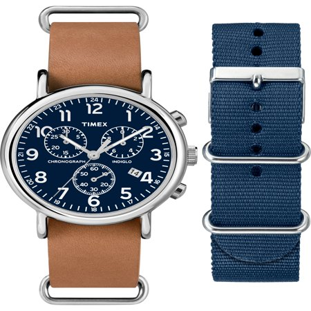 Timex Unisex Weekender Chronograph Watch Gift Set, Brown Leather Strap + Extra Navy Nylon Strap Brown Leather Chronograph Watch