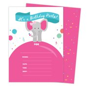 Elephant Style 3 Happy Birthday Invitations Invite Cards 25 Count With Envelopes Seal