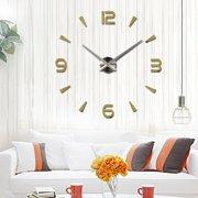 Modern Large 3D Mirror Surface Wall Clock Sticker Home Office Room DIY Decor Gold