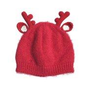 bf6991b7804 Kids Knit Wool Hat Cap Santa Elk Deer Horn Antlers Warm Cute Baby Child