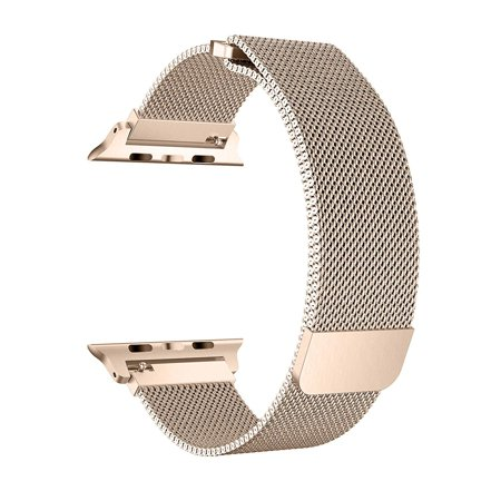 For Apple Watch Band 38mm, Stainless Steel Mesh Milanese Loop with Adjustable Magnetic Closure Replacement iWatch Band for Apple Watch Series 3 2 1 (38mm Gold)