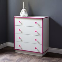 South Shore Logik 4-Drawer Chest, White and Pink