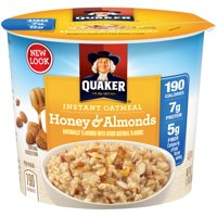 (6 Pack) Quaker Instant Oatmeal, Honey & Almond, 1.76 Oz Cup