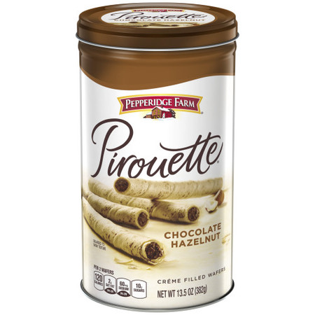 - Pepperidge Farm Pirouette Crème Filled Wafers Chocolate Hazelnut Cookies, 13.5 oz. Tin