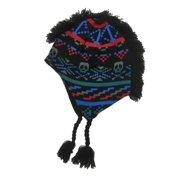 1a5796a57cccb Aquarius Boys Colorful Black Skull Mohawk Hat Fringe Peruvian Style Trapper